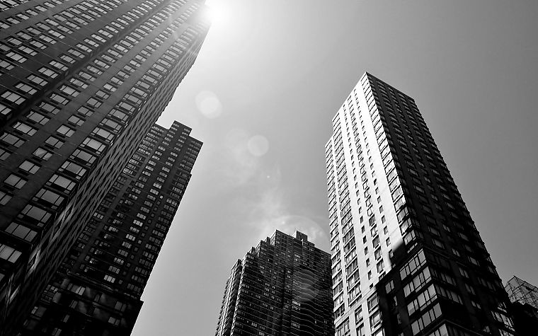 black and white, cityscapes, architecture, buildings, skyscrapers - desktop wallpaper