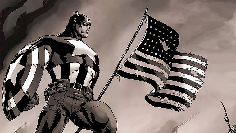 Captain America, Marvel Comics, American Flag - desktop wallpaper