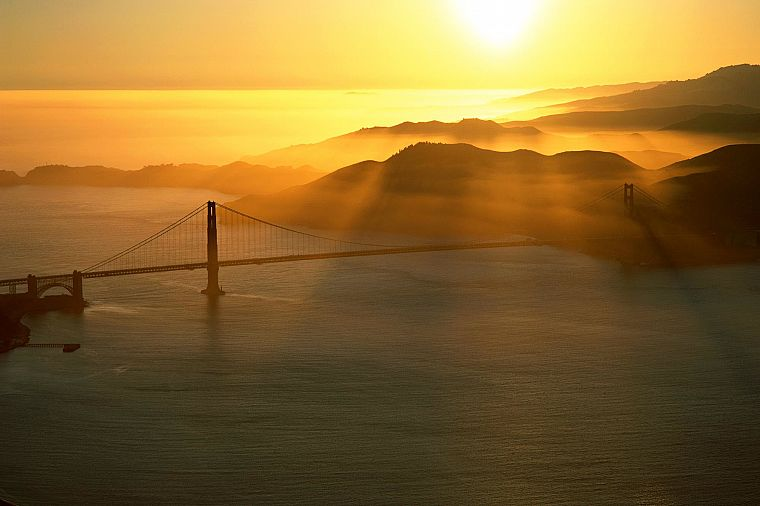 landscapes, Sun, bridges, Golden Gate Bridge, sea - desktop wallpaper
