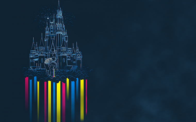 castles, rainbows - desktop wallpaper