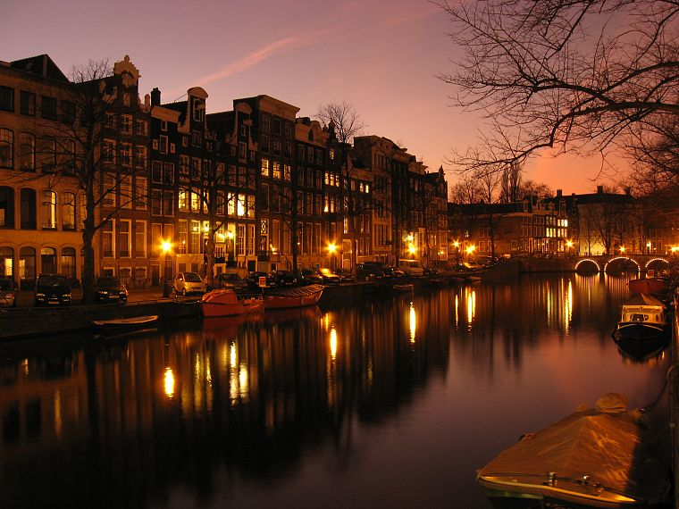water, night, lights, architecture, houses, ships, Europe, Holland, Amsterdam, Dutch, vehicles, rivers, reflections, The Netherlands, cities - desktop wallpaper