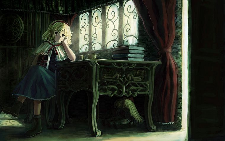 blondes, video games, Touhou, dress, indoors, room, long hair, ribbons, tables, books, short hair, yellow eyes, sunlight, chairs, sitting, curtains, dolls, window panes, Alice Margatroid, hair band, witches - desktop wallpaper
