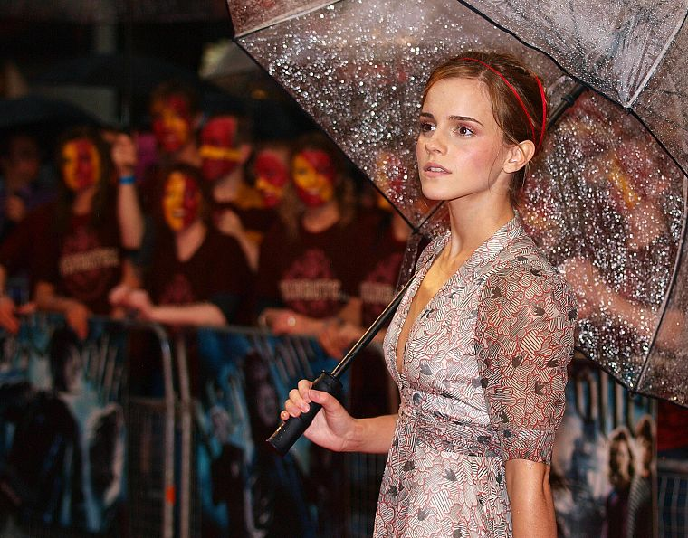 Emma Watson, umbrellas - desktop wallpaper