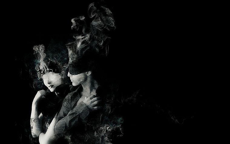 Women Smoke Men Couple Grayscale Monochrome