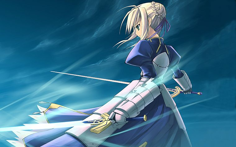 blondes, Fate/Stay Night, dress, green eyes, armor, Green River, Type-Moon, Saber, swords, Fate series, Shingo (Missing Link) - desktop wallpaper
