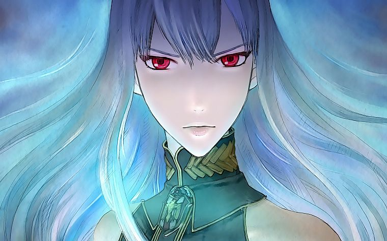 red eyes, white hair, Selvaria Bles, Valkyria Chronicles - desktop wallpaper