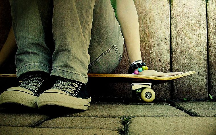 jeans, shoes, skateboards - desktop wallpaper