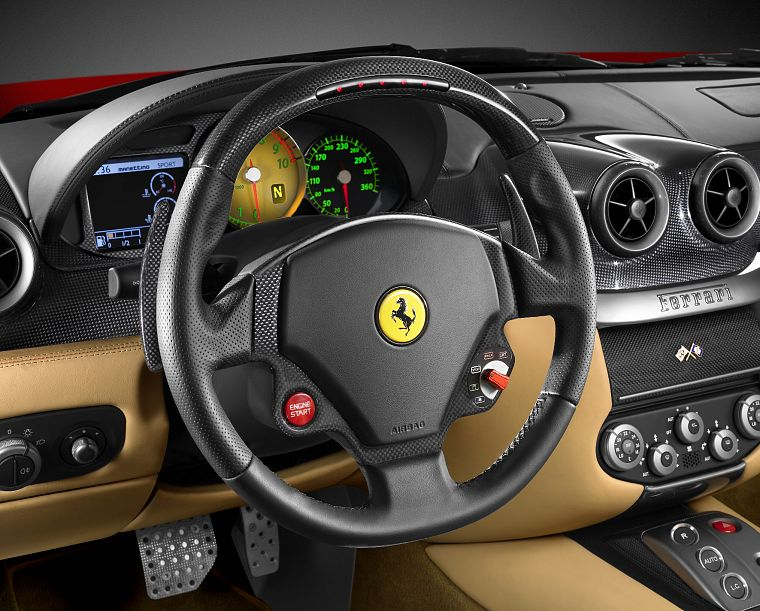 steering wheel, Ferrari 599 GTB Fiorano - desktop wallpaper