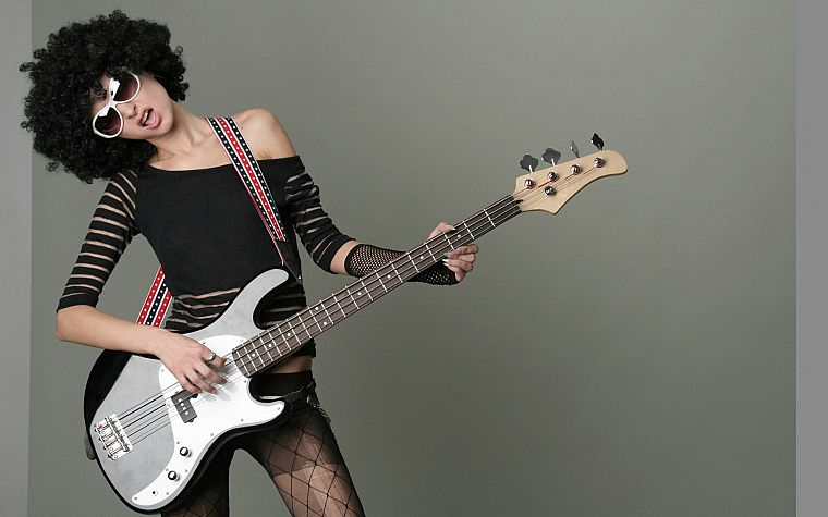 women, bass guitars, afro - desktop wallpaper