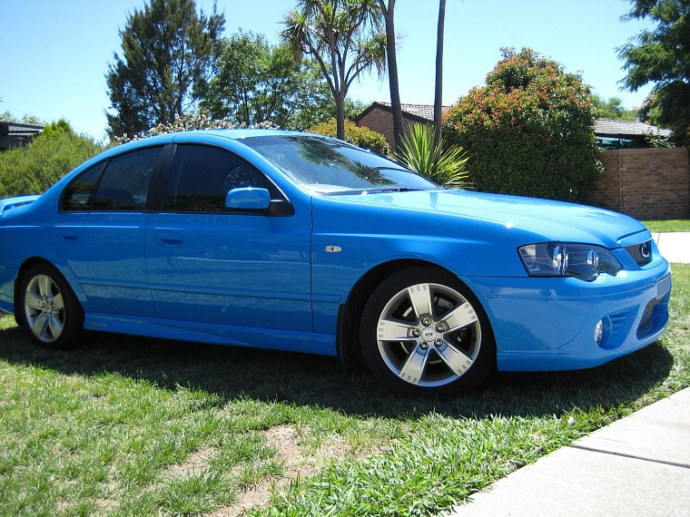 blue, cars, grass, Ford Falcon, side view, Ford BA Falcon XR6, blue cars, Ford Australia - desktop wallpaper