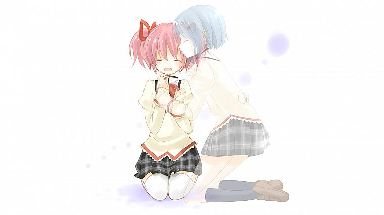 school uniforms, blue hair, pink hair, Mahou Shoujo Madoka Magica, Miki Sayaka, Kaname Madoka, anime, crying, simple background, anime girls - desktop wallpaper