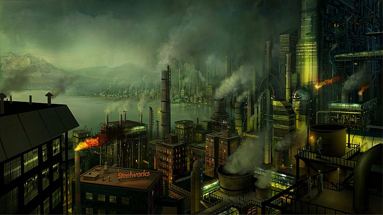 cityscapes, smoke, buildings, concept art, industrial plants, chimneys, factories, workers, Philip Straub - desktop wallpaper
