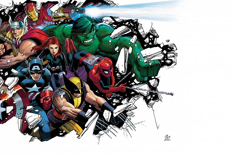 Hulk (comic character), Iron Man, Thor, Spider-Man, Captain America, Wolverine, Marvel Comics - desktop wallpaper