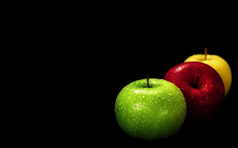 fruits, food, apples, black background - desktop wallpaper
