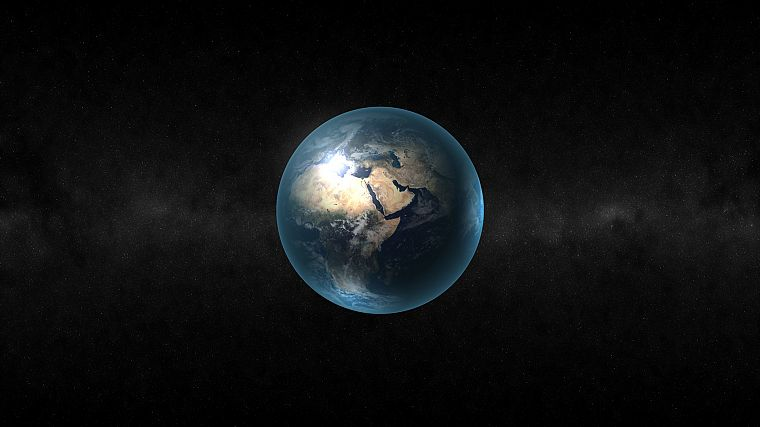 outer space, stars, planets, Earth, north, continents, Africa - desktop wallpaper