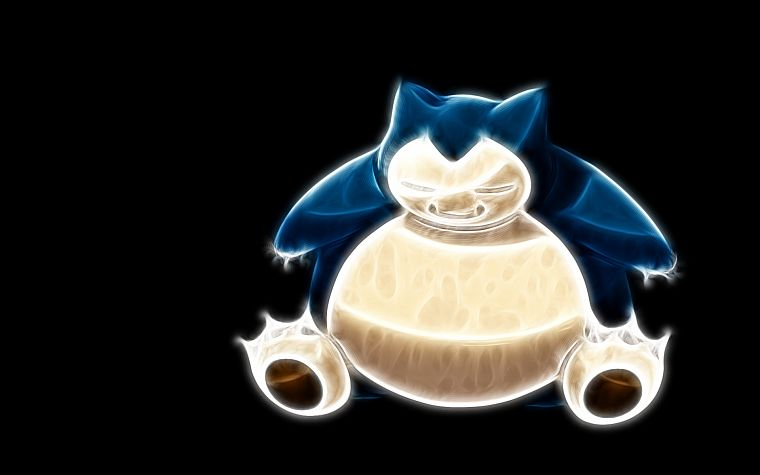 Pokemon, Fractalius, Snorlax, simple background, black background - desktop wallpaper