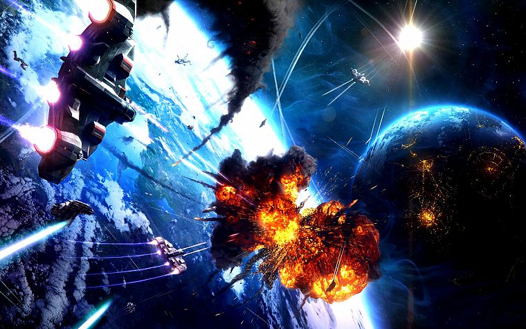 light, outer space, futuristic, explosions, planets, spaceships, digital art, vehicles - desktop wallpaper