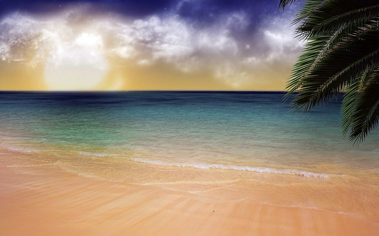 water, ocean, clouds, sand, trees, outdoors, palm trees, skyscapes, sea, beaches - desktop wallpaper