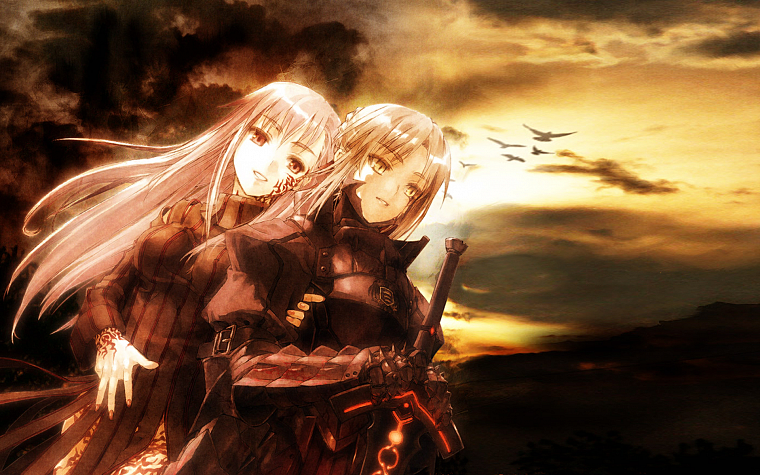 Fate/Stay Night, armor, Type-Moon, Matou Sakura, anime girls, swords, Saber Alter, Dark Sakura, Fate series - desktop wallpaper