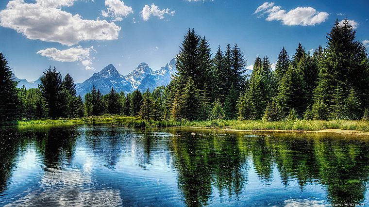mountains, clouds, landscapes, nature, forests, lakes - desktop wallpaper