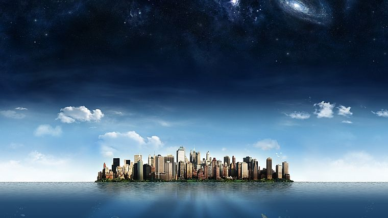cityscapes, skylines, islands, digital art - desktop wallpaper