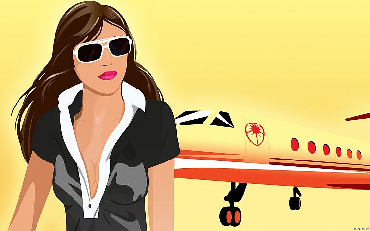 brunettes, women, cleavage, vectors, sunglasses, planes - desktop wallpaper