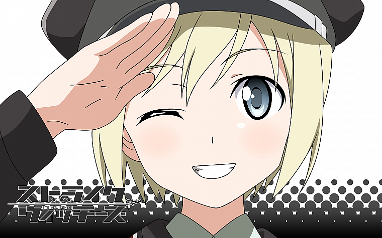 blondes, Strike Witches, uniforms, army, military, blue eyes, short hair, grin, anime, wink, hats, Erica Hartmann, anime girls, salute - desktop wallpaper