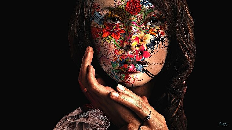 women, paintings, artistic, flowers, paint, faces, painted body, black background - desktop wallpaper