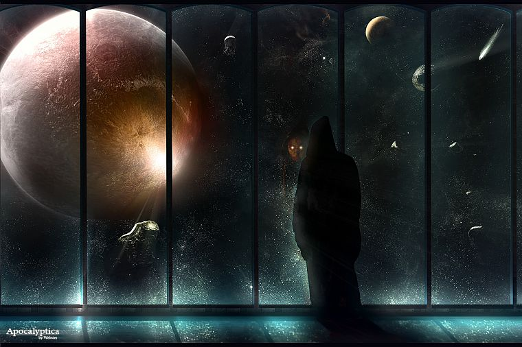 outer space, planets, window - desktop wallpaper