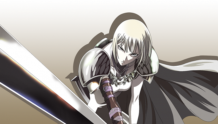 blondes, Claymore, armor, Clare, anime, capes, gray eyes, anime girls, swords - desktop wallpaper