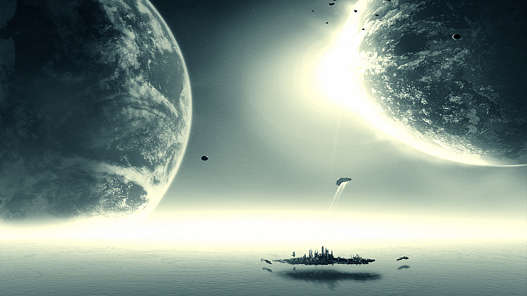 ocean, outer space, planets, Stargate Atlantis - desktop wallpaper