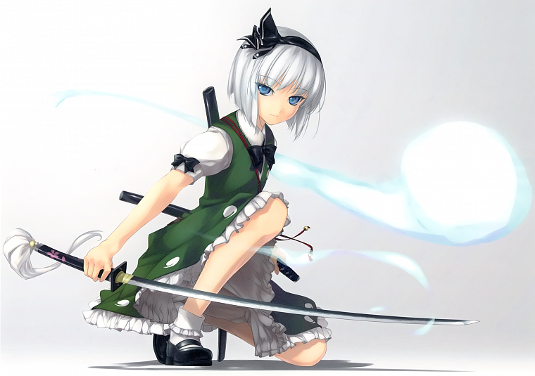 Touhou, Konpaku Youmu, anime, white hair, soft shading, girls with swords, simple background, anime girls, Rokuwata Tomoe - desktop wallpaper