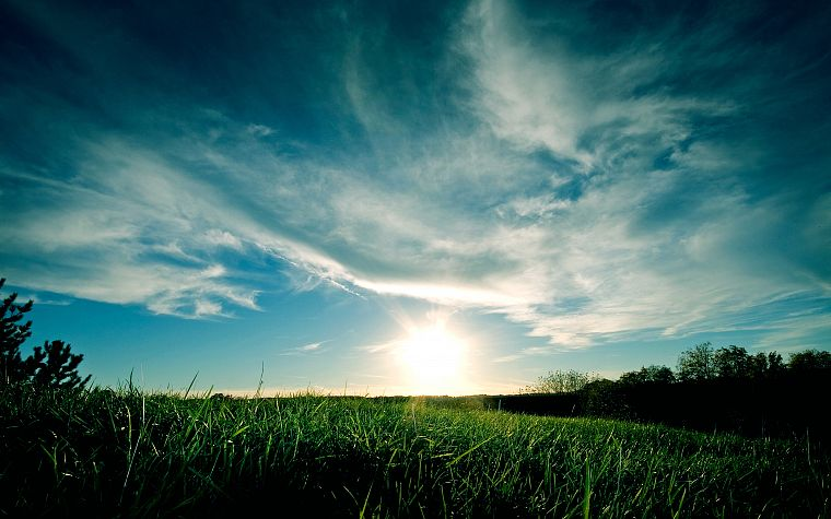 green, blue, clouds, landscapes, nature, grass, skyscapes - desktop wallpaper