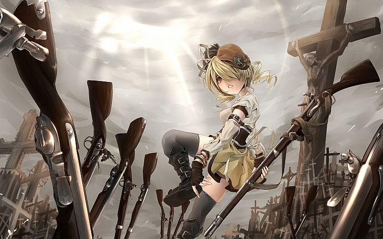 blondes, guns, Mahou Shoujo Madoka Magica, Tomoe Mami, anime, anime girls - desktop wallpaper