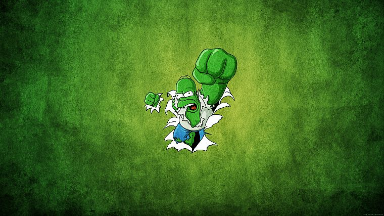 green, Hulk (comic character), Homer Simpson, The Simpsons, Marvel Comics - desktop wallpaper
