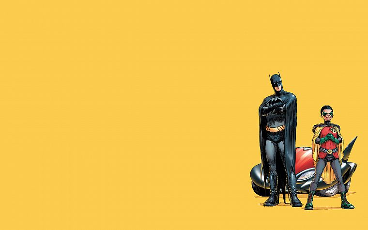 Batman, Robin, DC Comics, comics, simple background, Dick Grayson, yellow background, Frank Quitely - desktop wallpaper
