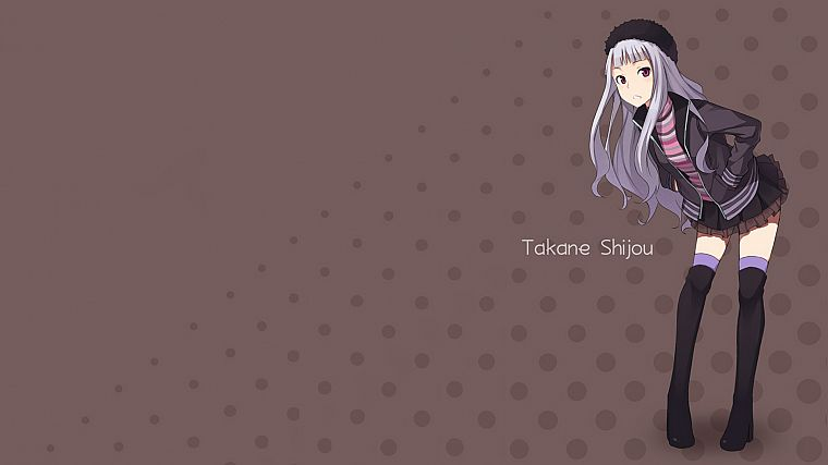 stockings, skirts, red eyes, anime, white hair, anime girls, Shijou Takane, Idolmaster - desktop wallpaper