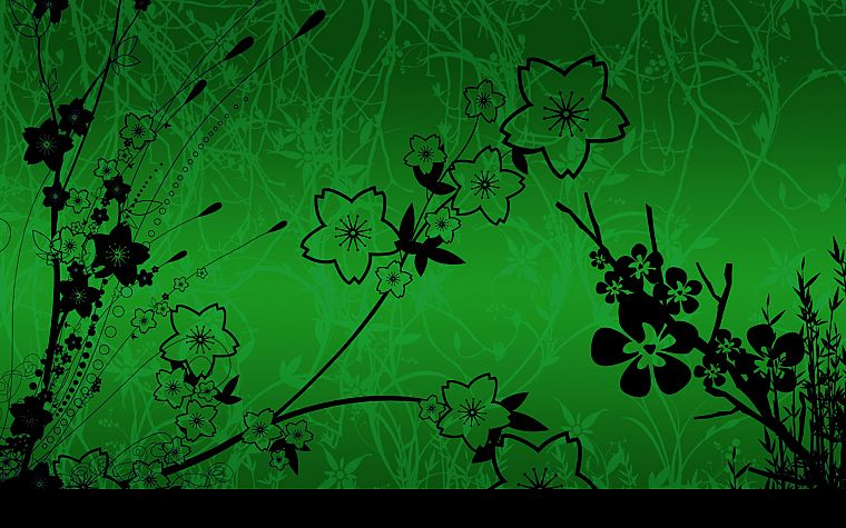 green, flowers - desktop wallpaper