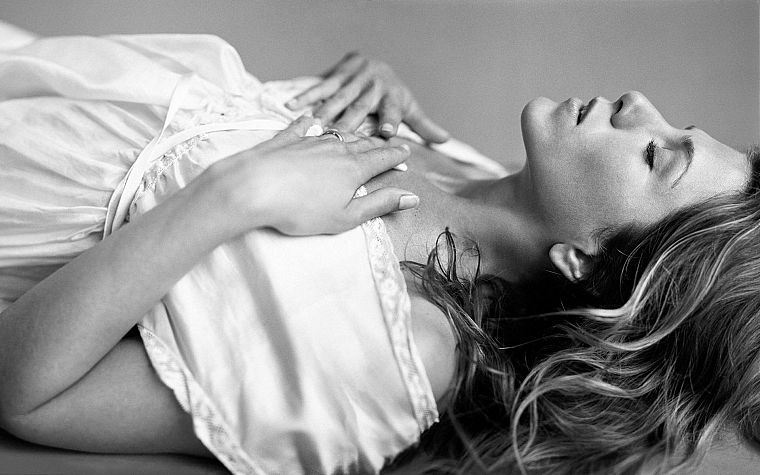 women, actress, Jennifer Aniston, monochrome, closed eyes - desktop wallpaper