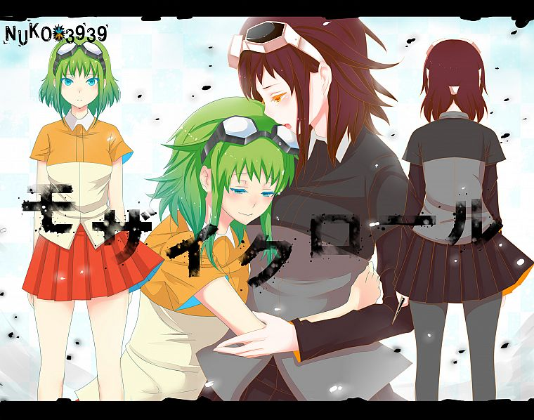 brunettes, Vocaloid, back, text, skirts, Japanese, goggles, short hair, green hair, blush, open mouth, Megpoid Gumi, aqua eyes, orange eyes, anime girls, multiple persona, bangs, Mosaic Roll, hugging - desktop wallpaper