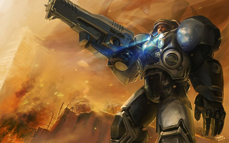 video games, StarCraft, space marines, artwork, Jim Raynor - desktop wallpaper