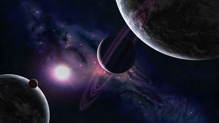 outer space, Solar System, planets, rings - desktop wallpaper