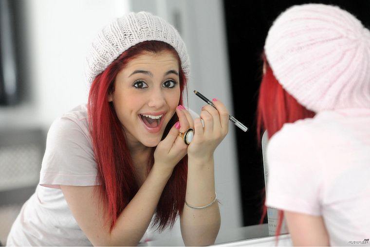 women, mirrors, redheads, brown eyes, open mouth, Ariana Grande - desktop wallpaper