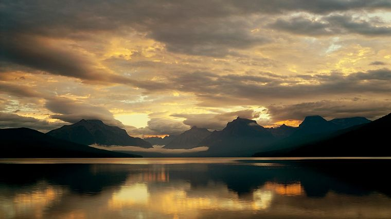 mountains, clouds, nature, McDonald Lake, Glacier National Park - desktop wallpaper