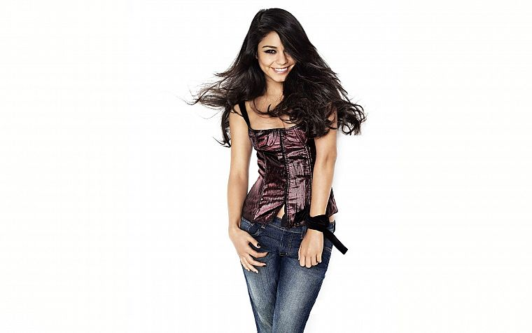 brunettes, women, jeans, actress, models, celebrity, Vanessa Hudgens - desktop wallpaper