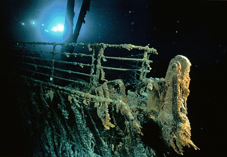 Titanic, bows, vehicles, underwater, railing, shipwreck - desktop wallpaper