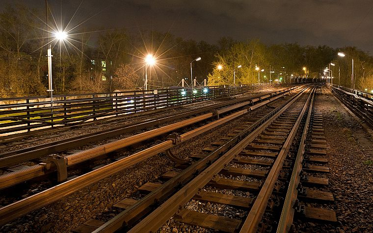 night, metro, subway, railroad tracks, Moscow - desktop wallpaper