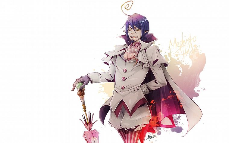 purple hair, anime, anime boys, Ao no Exorcist, umbrellas, Mephisto Pheles - desktop wallpaper