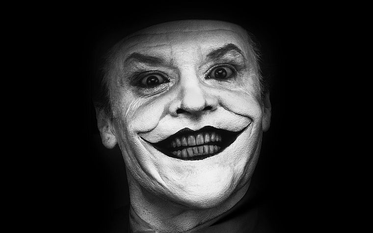 The Joker, Jack Nicholson, monochrome - desktop wallpaper