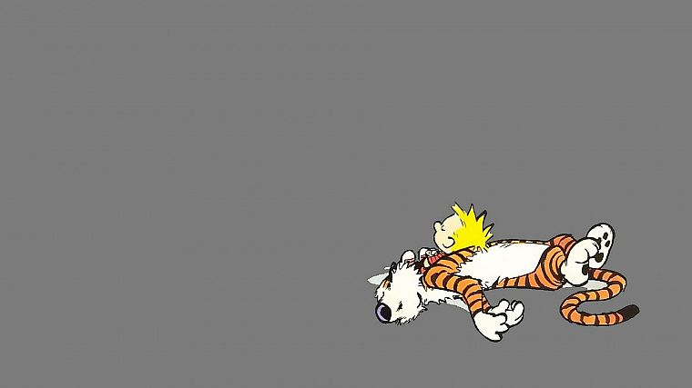 Calvin and Hobbes, sleeping - desktop wallpaper